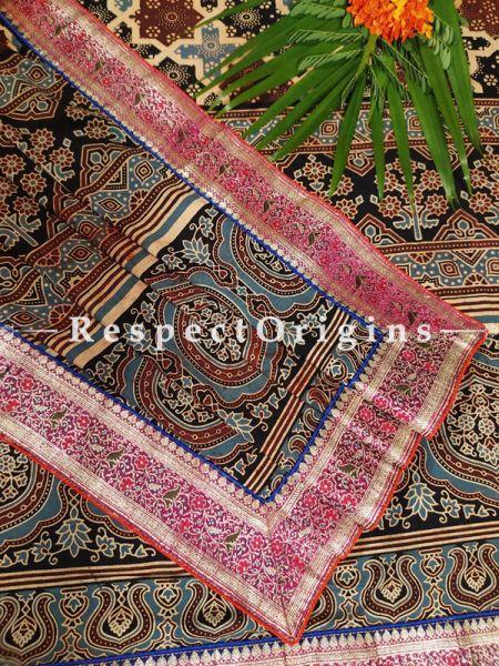 Buy Maroon and Blue Luxury Mashru Silk Duppata with Ajrakh Block Print;At RespectOrigins