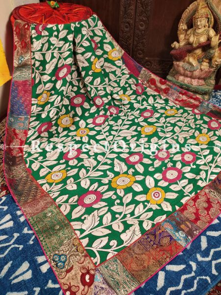 Buy Abundant Greens in a Unique Duppata in Cotton Silk with Kalamkari Print and Silk Contrast Border;At RespectOrigins
