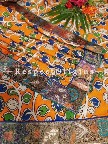 Buy Orange and Green Unique Duppata in Cotton Silk with Kalamkari Print and Silk Contrast Border;At RespectOrigins