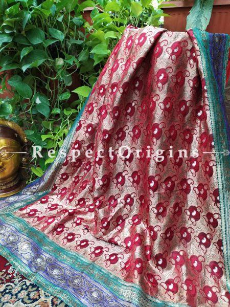 Buy Maroon and Gold Vintage Banarasi Kinkhab Brocade Silk Luxury Duppatta with Contrast Border;At RespectOrigins