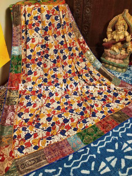 Buy Red, Yellow and White Dupatta in Cotton Silk with Kalamkari and Vintage Banarasi Kinkhab Brocade Silk Contrast Border;At RespectOrigins