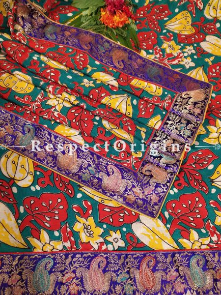 Buy Gorgeous Dupatta with Kalamkari and Vintage Banarasi Kinkhab Brocade Silk Contrast Border;At RespectOrigins