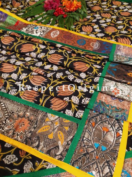 Buy Chocolate Brown Dupatta with Kalamkari Print and Vintage Banarasi Kinkhab Brocade Silk Contrast Border;At RespectOrigins
