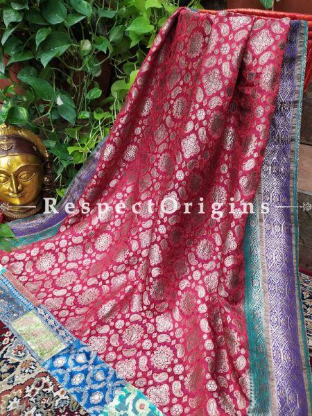 Buy Rose Pink and Gold Zari Vintage Banarasi Kinkhab Brocade Silk Luxury Duppatta with Contrast Border;At RespectOrigins
