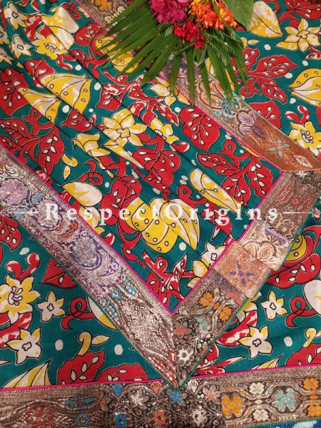 Buy Green and Red Dupatta with Kalamkari with Silk Contrast Border;At RespectOrigins