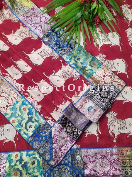 Buy Maroon and White Dupatta with Kalamkari Print with Silk Contrast Border;At RespectOrigins