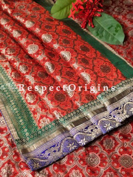 Antique Banarasi Brocade Duppata Stole with Border and Pallu. Original Zari.length 86 Inches x width 33 Inches. at respect origins.com