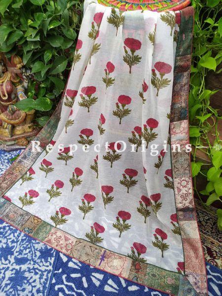 Buy White Luxurious Unique Dupatta with Kalamkari with Silk Contrast Border;At RespectOrigins