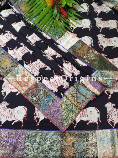 Buy Black and White Kalamkari Dupatta with  Vintage Banarasi Kinkhab Brocade Silk Contrast Border;At RespectOrigins