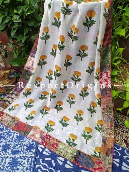 Buy White and Marigold Dupatta in Kalamkari with Silk Contrast Border;At RespectOrigins