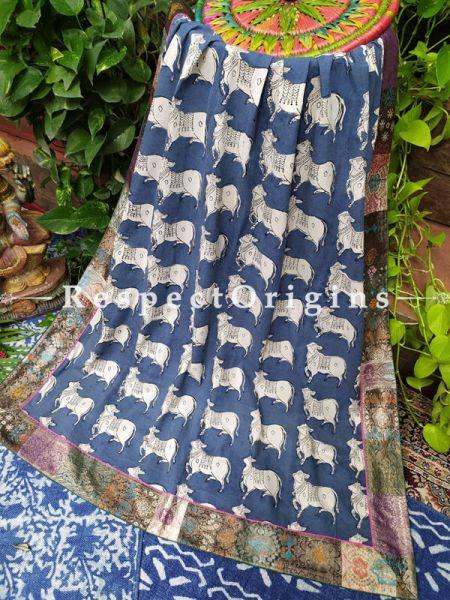Buy Midnight Blue Krishn Rang Duppata with Kalamkari with Silk Contrast Border;At RespectOrigins