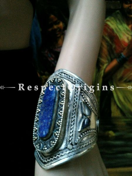 Exotic German Silver and Blue stone Pair of Bracelets, RespectOrigins.com