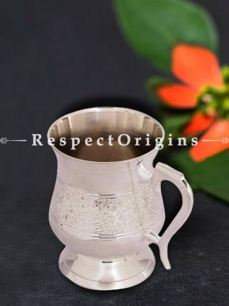 Buy Silver Plated hand carved Brass Mug At RespectOrigins.com