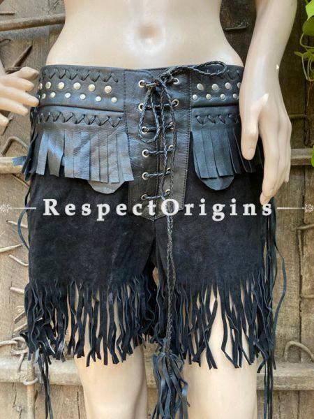 Black Velvet Leather Mixed  women Bottom; RespectOrigins.com