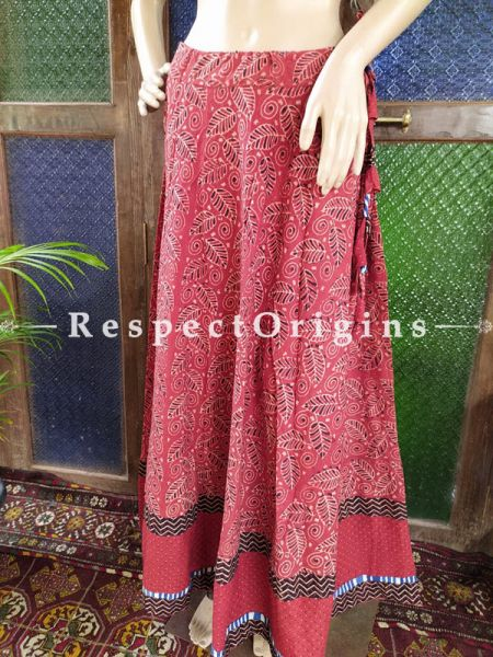 Red Hand Block Printed Cotton Maxi Long Skirt; Free Size; Length 40 Inches; RespectOrigins.com