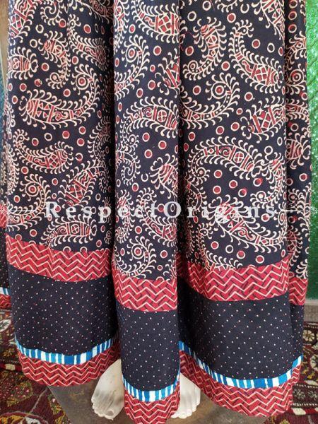 Glamorous Black Hand Block Printed Cotton Maxi Long Skirt; Free Size; Length 40 Inches; RespectOrigins.com