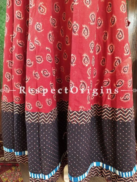 Beautiful Red Hand Block Printed Cotton Maxi Long Skirt; Free Size; Length 40 Inches; RespectOrigins.com