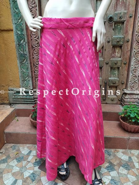 Pink Block-printed Cotton Skirt Free Size Drawstring for Women; Length 40 Inches ; RespectOrigins.com