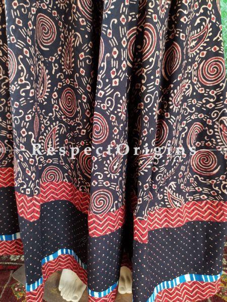 Black Hand Block Printed Cotton Maxi Long Skirt; Free Size; Length 40 Inches; RespectOrigins.com