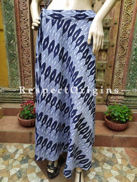 Grey Block-printed Cotton Skirt Free Size Drawstring for Women; Length 40 Inches; RespectOrigins.com