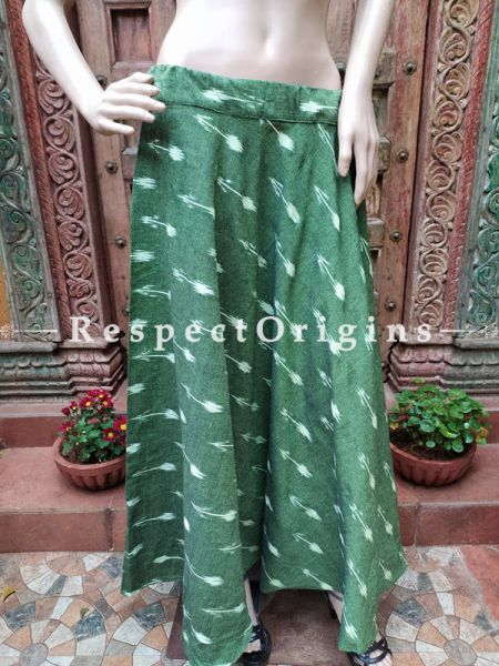 Dark Green Block-printed Cotton Skirt Free Size Drawstring for Women; Length 40 Inches; RespectOrigins.com