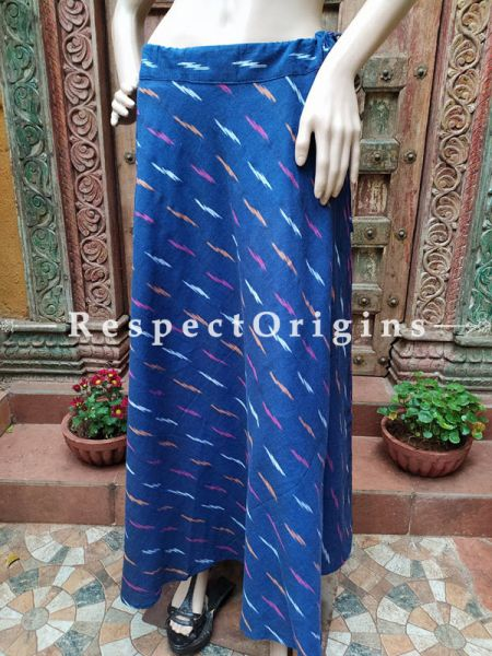 Blue Block-printed Cotton Palazzo Free Size Elasticated Drawstring Pants for Women; Length 40 Inches; RespectOrigins.com
