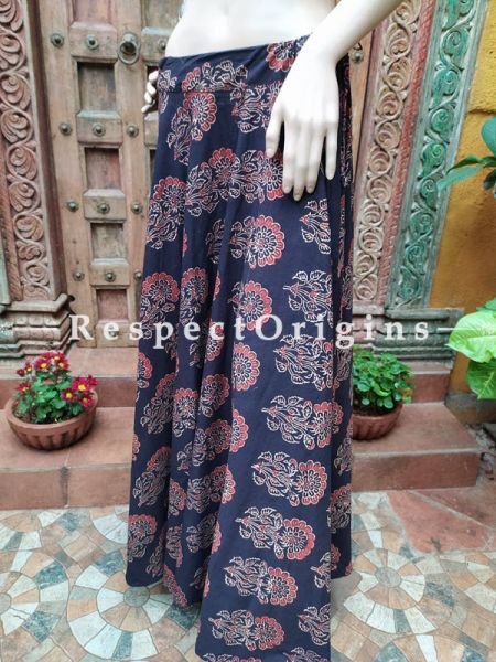 Black Block-printed Cotton Palazzo Free Size Elasticated Drawstring Pants for Women; Length 40 Inches; RespectOrigins.com