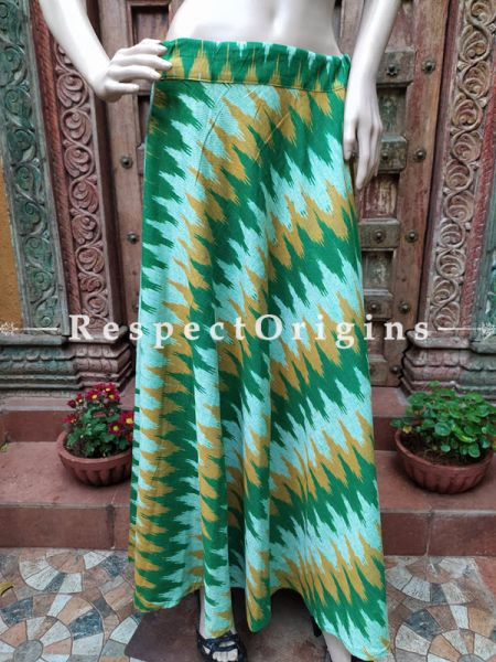 Green Block-printed Cotton Palazzo Free Size Elasticated Drawstring Pants for Women; Length 40 Inches; RespectOrigins.com