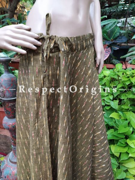 Light Brown Block-printed Cotton Palazzo Free Size Elasticated Drawstring Pants for Women; Length 40 Inches; RespectOrigins.com