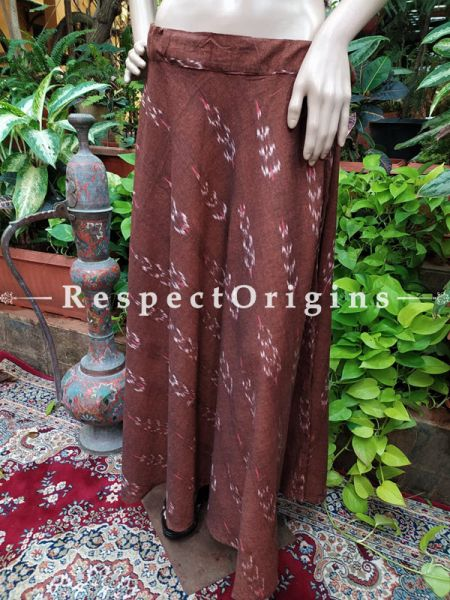 Brown Block-printed Cotton Palazzo Free Size Elasticated Drawstring Pants for Women; Length 40 Inches; RespectOrigins.com