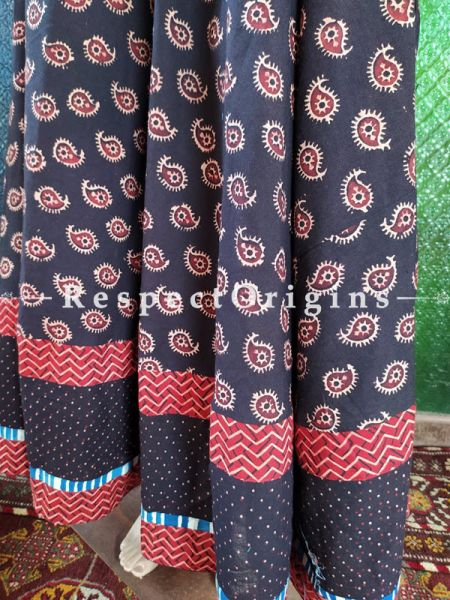 Stunning Black Hand Block Printed Cotton Maxi Long Skirt; Free Size; Length 40 Inches; RespectOrigins.com
