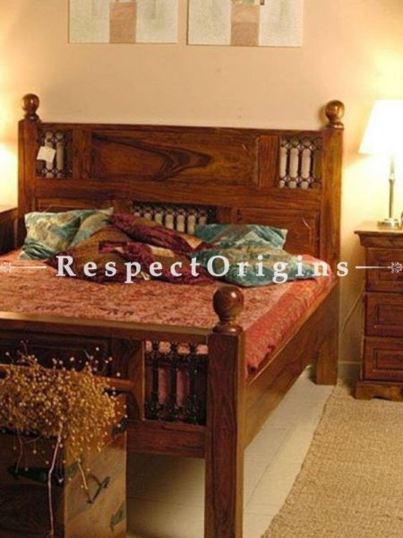 Buy Sofia Bedroom Set; Double Bed, Night Stand, Dresser with Mirror, Storage Bench in Solid Sheesham Wood At RespectOrigins.com