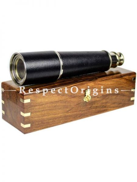 Buy 32 Inches Solid Antique Black Brass Spyglass With Genuine Rosewood Decorative Anchor inlaid Storing Case At RespectOrigins.com