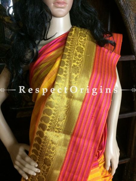 Yellow-Red Handwoven Banarasi Cotton Silk Saree; Zari Border & Butis; RespectOrigins.com