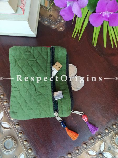 Buy Green Quilted Boho Suf Embroidered Coin or Makeup Purse Bag with Zipper and Tassle 4.5 X 4.5 Inches at RespectOrigins.com