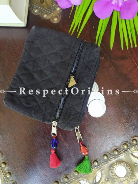 Buy Black Quilted Boho Suf Embroidered Coin or Makeup Purse Bag with Zipper and Tassle 4.5 X 4.5 Inches at RespectOrigins.com