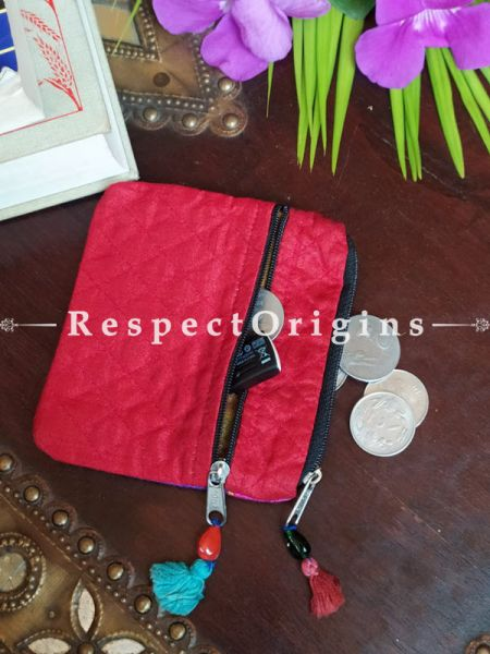 Buy Red Quilted Boho Suf Embroidered Coin or Makeup Purse Bag with Zipper and Tassle 4.5 X 4.5 Inches at RespectOrigins.com