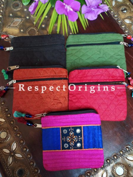 Buy Set of 5 Quilted Boho Suf Embroidered Coin or Makeup Purse Bag with Zipper and Tassle 4.5 X 4.5 Inches at RespectOrigins.com