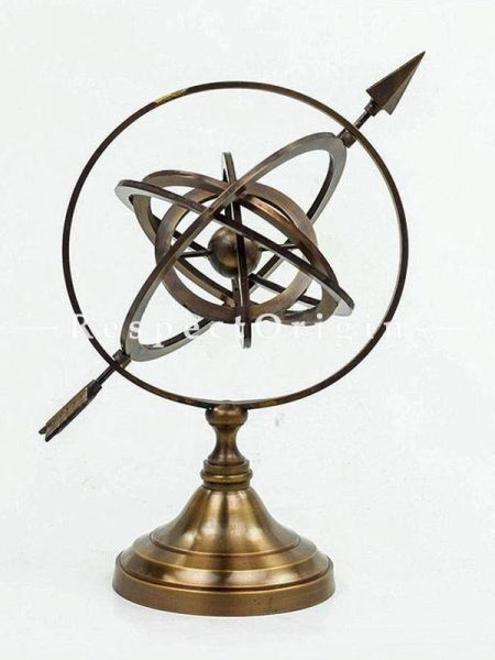 Buy Authentic Brass Nautical Artifact Sphere Globe with Pierced Arrow Brass; Collectible Decor for Homes At RespectOrigins.com