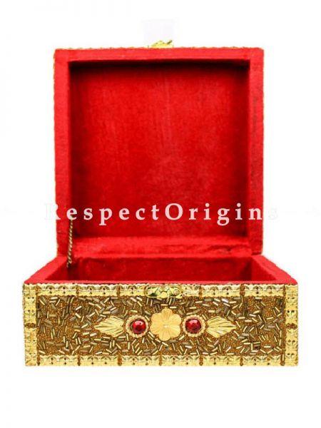 Square Golden Jewelry Box with Velvet Walls & Floor inside; RespectOrigins