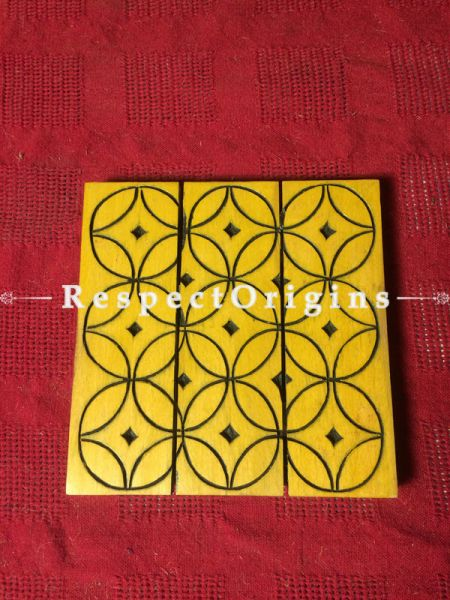 Square Shaped Yellow Wooden Coaster With Geometrical Patters; Handcrafted; RespectOrigins