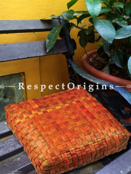 Buy Hand Weaved Square Floor Cushion; Screw Pine Leaf; Brown; Ecofriendly; Set of 3 At RespectOrigins.com