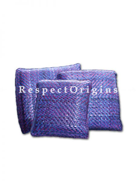Buy Set of 3 Handcrafted Square Shape Purple Cushion Set; Screw Pine Leaf; Purple; Ecofriendly At RespectOrigins.com