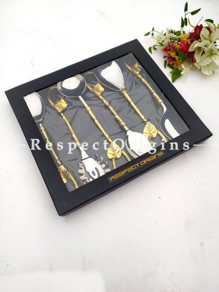 Artisanal Elegant Serveware Designer Handcrafted Leaf Handles Boxed Gift Set of 6; 11 Inches; RespectOrigins.com
