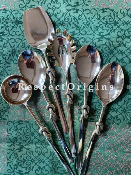 Buy Stainless Steel Spoon Latest Design Designer Gold Polished Serving Spoon Set of 6 At RespectOrigins.com