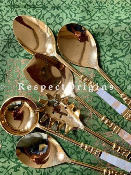 Buy Mother of Pearl Serving Spoon Set of 5 Pcs; Steel At RespectOrigins.com