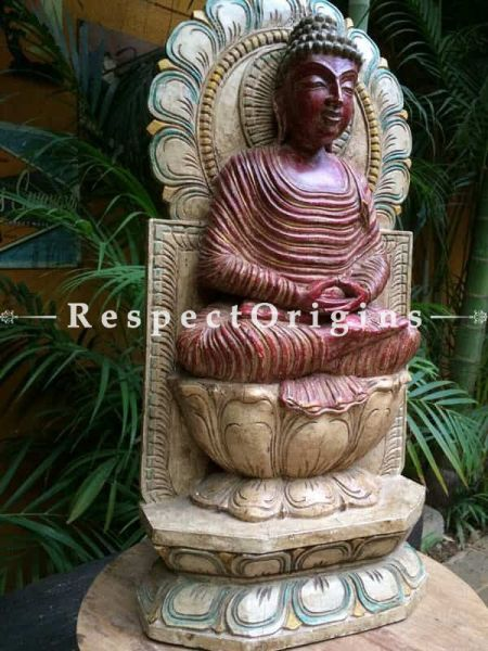 Buy Statue or Figurine of Buddha; Tamil Nadu Wood Craft, 61x5x29 in At RespectOrigins.com
