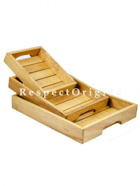 Buy Hand Crafted Premium Steamed Beech Wooden Tray; Stylish Kitchen Decor; Food Serving Set of 3 Trays At RespectOrigins.com
