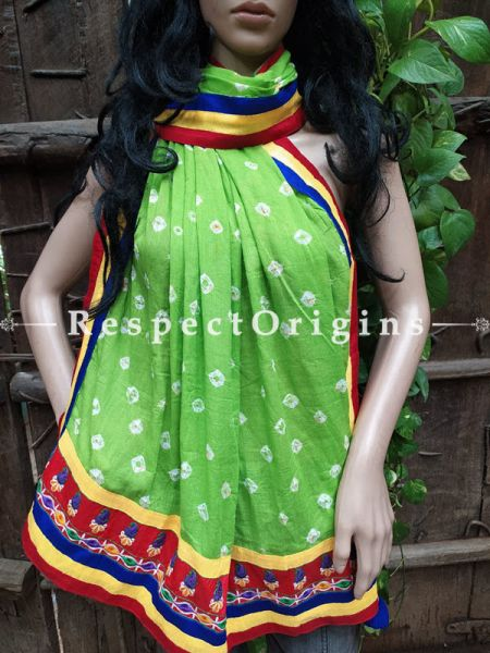 Gloria Boho Green Stole in Tie Dye Bandhani with Tribal Embroidered Borders;90 x32 Inches; RespectOrigins.com