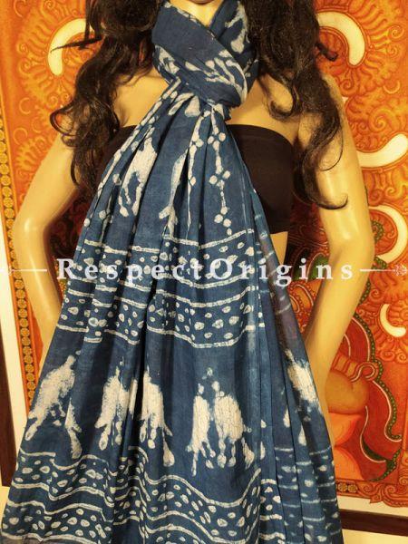 Indigo Bagh Hand-printed Cotton Stole;95 x45 Inches; RespectOrigins.com